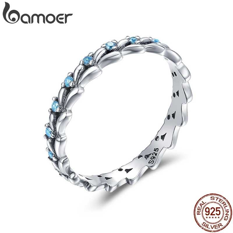 BAMOER Real 100% 925 Sterling Silver Stackable Ring Wheat Wave & Clear CZ Finger Rings for Women Sterling Silver Jewelry SCR162