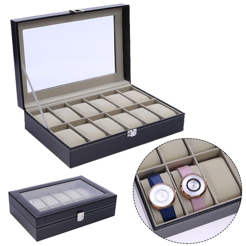 12 Slots PU Leather Wrist Watch Display Box Storage Holder Organizer Watch Case Jewelry Storage Dispay Watch Box