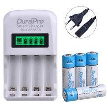 DuraPro – piles rechargeables Ni-MH AA AAA, avec écran LCD, 4 emplacements, chargeur de batterie pour calculatrice, lecteur MP3