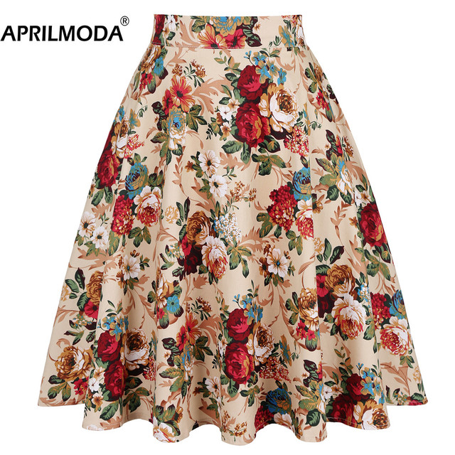 2020 Elegant Women Pleated Office Midi Skirts Aline Steampunk Gothic Female 50s 60s A line Ladies Skirt High Waist fashion skirt 1