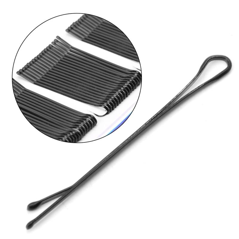 60x Fashion Invisible Hair Clips Flat Top Bobby Pins Grips Salon Barrette Black