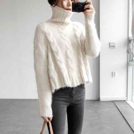 Quente feminino inverno blusa tricot sexy inverno camisola de tricô feminino manga longa gola alta casacos pulôver s130