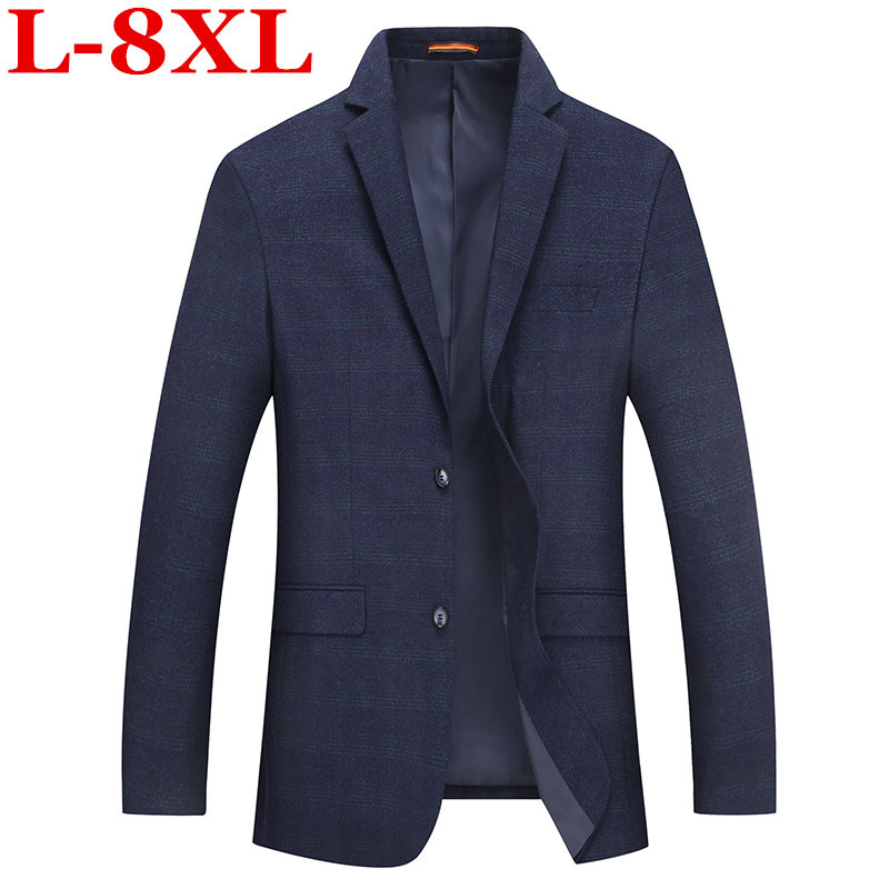 Plus Size  8XL 7XL Mens Korean Slim Fit  Fashion Cotton Blazer Suit Jacket Male Blazers Mens Coat Wedding Big Large Size 5XL 4XL