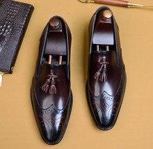 QYFCIOUFU Brogue Shoes Men Oxford Tassel Italian Luxury Brand Handmade Vintage Retro Office Formal Wedding Party Men Dress Shoes