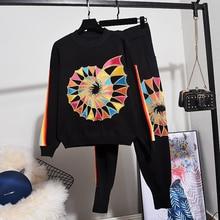 高品質ルース女性スパンコール花長袖セーター + カジュアルパンツツーピースの衣装学生ニットトラックスーツ女性セット