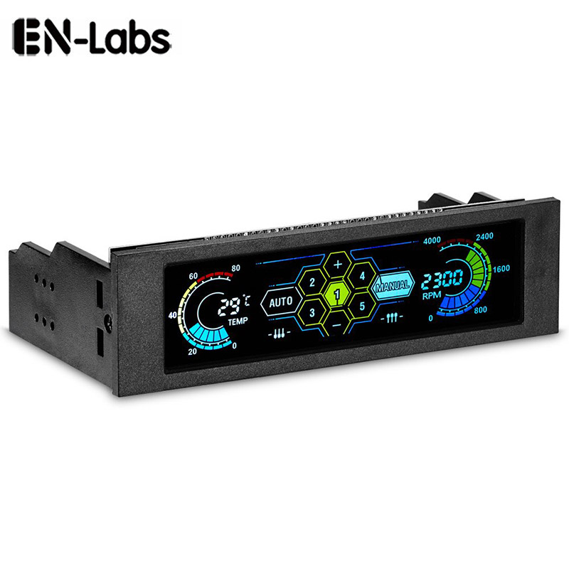 """5.25"""" Touchscreen LCD 5 Way Fan Speed Controller-PC Computer Cooling Temperature Controller Front Pane W/ Temperature Monitor"""