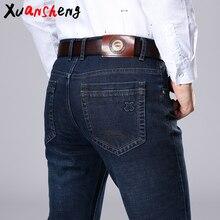 Xuansheng Брендовые мужские джинсы осенние и зимние плотные деловые повседневные Стрейчевые узкие джинсы классические брюки синие черные джинсы