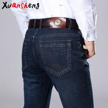 Xuansheng markowe męskie jeansy 2019 jesienne i zimowe grube do pracy na co dzień rozciągliwe dopasowanie dżinsy klasyczne spodnie niebieskie czarne dżinsy tanie tanio Zipper fly Średni Piasek Mycia Proste Chiński styl Plastry List Midweight Pełnej długości Denim Mężczyźni Stripe