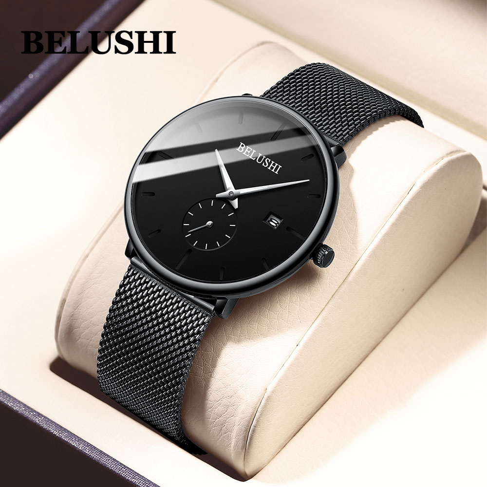 Belushi Man Watch 2019 Luxury Brand Stainless Steel Quartz Watch Men Waterproof Black Date Ultra Thin Watches For Men Relogio