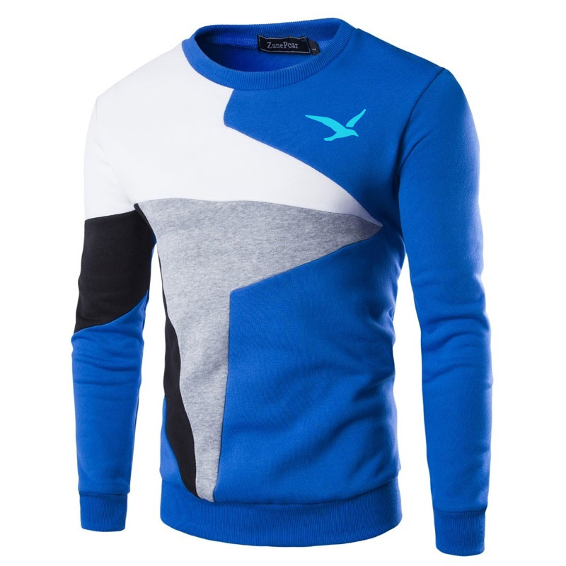 Sweaters Men European flag blue Seagull Printed Casual O-Neck Slim Cotton Knitted Mens Sweaters Pullovers Men Brand Clothing 2