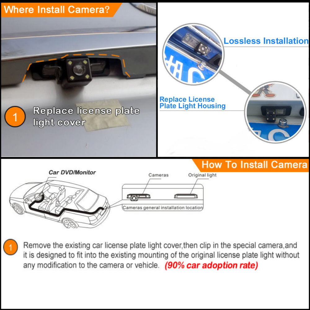 Car Reverse Rear View Camera For Toyota Corolla 2014~2019 Compatible Original Screen Back Up Parking Camera Sets RCA Adapter 主图6