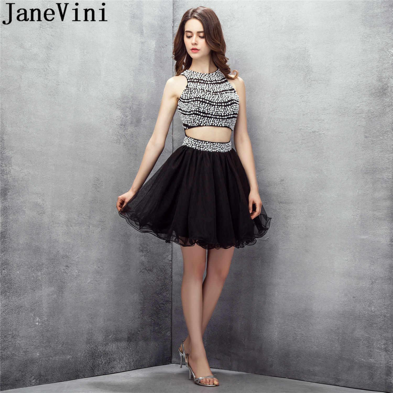 JaneVini 2 бальное платье для танцев Короткие бальные платья с жемчужными блестками тюлевый с открытой спиной Черное Выходные туфли на выпускной вечерние платье Vestido Graduacion плюс Размеры