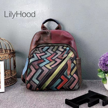 Patchwork Multi-color Natural Leather Backpack Women High Quality Soft Genuine Leather Casual Daily Knapsack Teenager School Bag