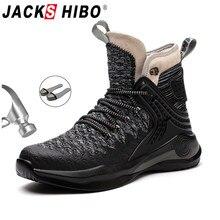 Jackshibo homens botas de trabalho de segurança sapatos respirável anti-esmagamento aço toe cap botas indestrutíveis sapatos de trabalho