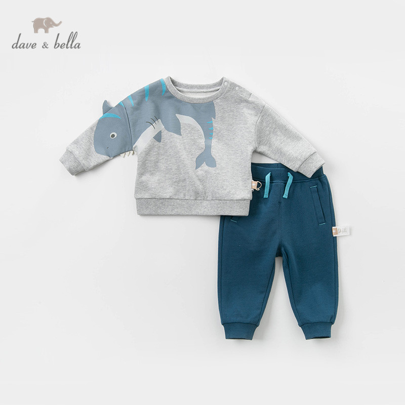 DBX12604 dave bella spring baby boys fashion clothing sets long sleeve suits children gray clothes