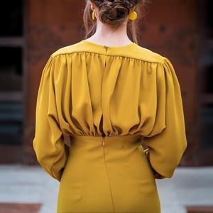 Image 2 - Turmeric Elegant pleated midi dress women 2019 Autumn Party yellow bodycon ladies dress Plus size high waist winter dress new