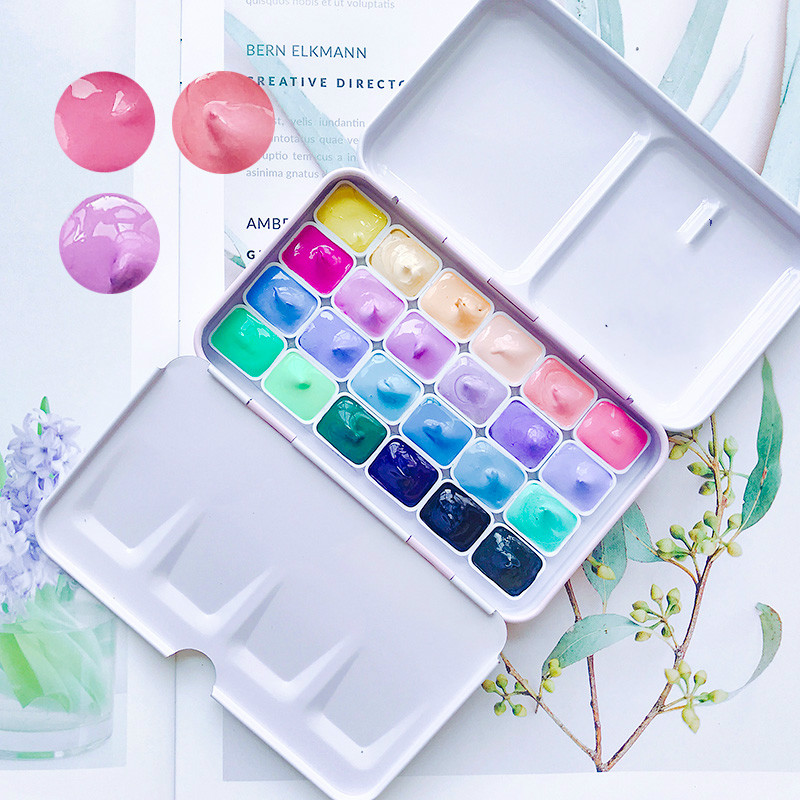 Handmade Candy Color Watercolor 24 Colors Acuarelas Pigment Packing Aquarelle Wasserfarbe Mini Aguarela Acuarela Art Supplies