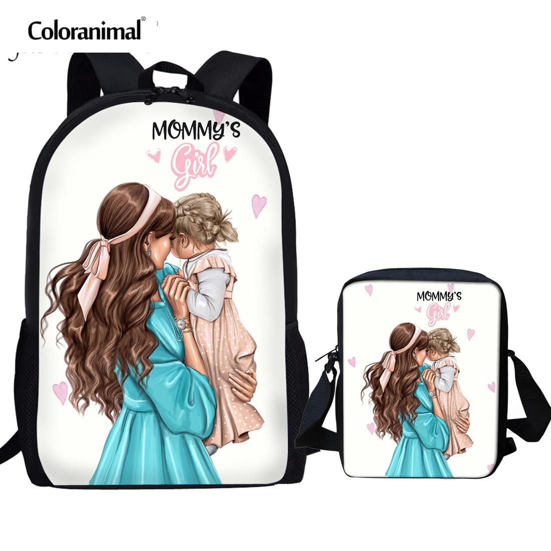 Coloranimal African Afro Princess School Bag 3pcs Set For Teenager Book Bag  Cartoon Girls Super Mom Child School Backpack