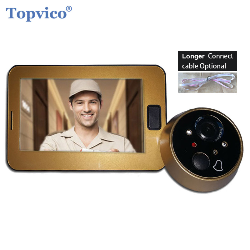 "Topvico Video Peephole Camera Door 4.3"" Color Screen Ring Doorbell Video LED Electronic Door Bell Door Viewer Home Security"