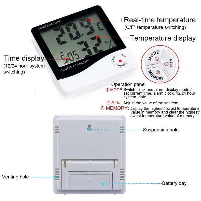 LCD Digital electrónico temperatura Monitor de humedad higrómetro termómetro alto precio exterior reloj de estación meteorológica