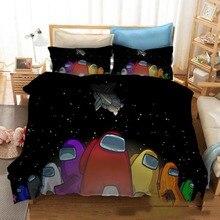 3PCS Among Us Bedding Set Cartoon Boy Bed Linens Duvet Comforter Cover Among Us Game Teen Bedspreads Single Twin Full King Size