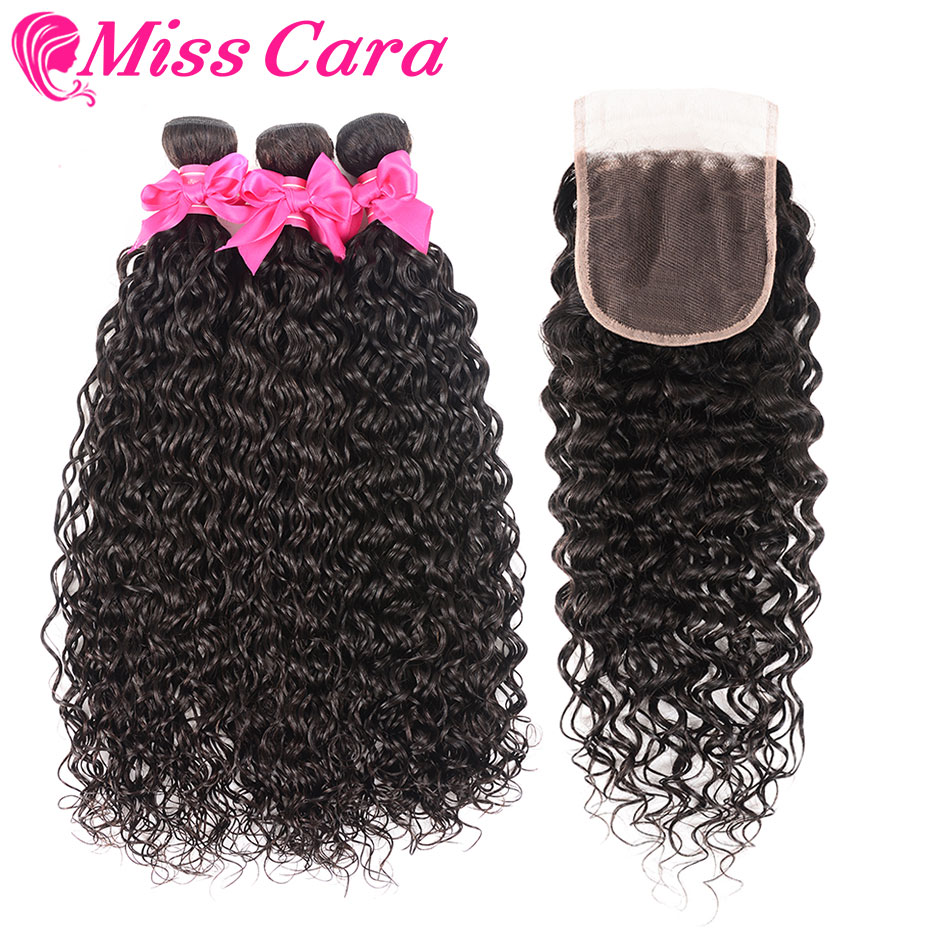 3 4 Bundles Brazilian Water Wave With Closure 100 Human Hair Bundles With Closure Middle Free
