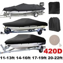 420D Trailerable чехол для лодки водонепроницаемый дождь рыба-лыжный v-корпус защита от солнечных лучей защита от воды ленты швартовки для катера D40
