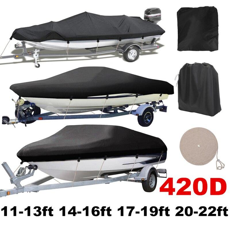 420D couverture de bateau remorquable imperméable à l'eau de pluie poissons-ski v-coque protecteur UV résistant au soleil bandes imperméables amarrage de bateau à moteur couvre D40