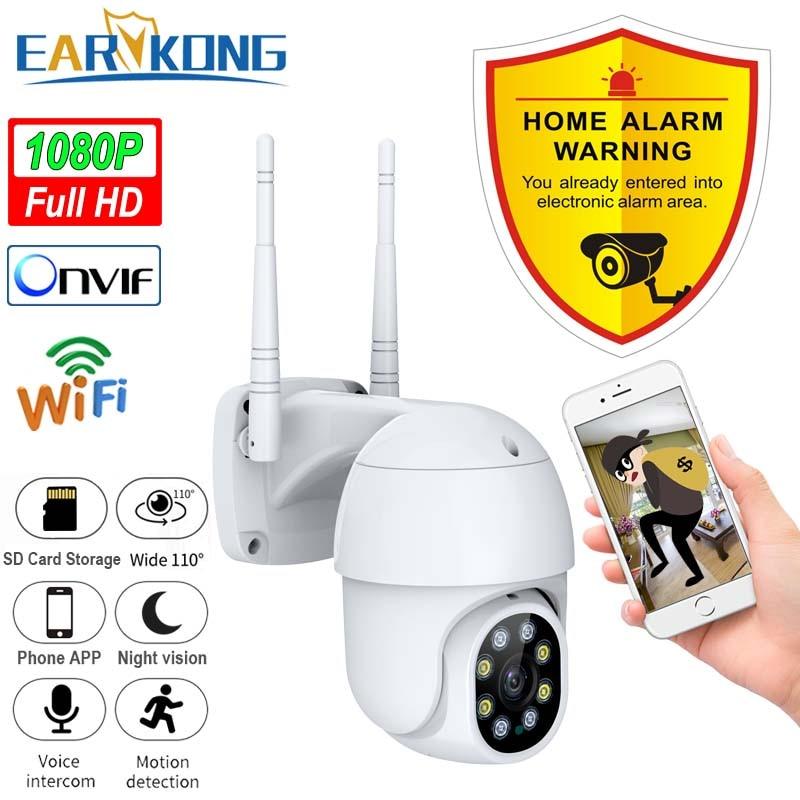 Earykong ao ar livre à prova dwaterproof água wifi câmera automática trackingptz controle de luz infravermelha e luz branca casa vigilância ip câmera