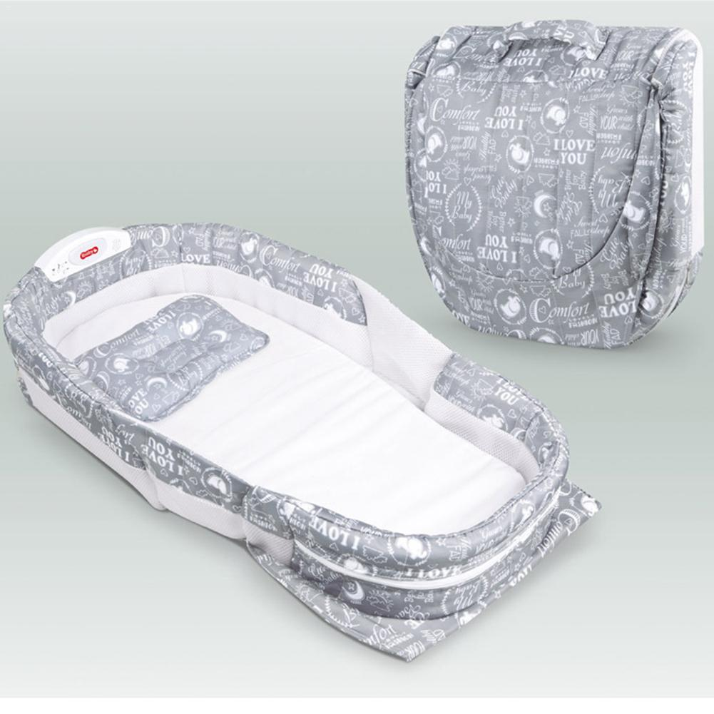 Baby Cot Multi-function Newborn Diaper Table With Music Portable Sleeping Basket Baby Travel Bed