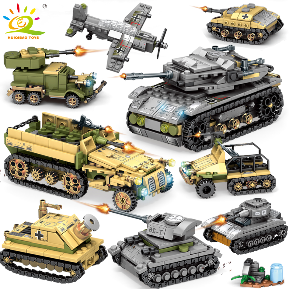 1061PCS 8in2 WW2 Army Truck Tank Building Block Military Car Plane Weapon Soldier Figure Compatible Legoing Model Bricks Toys For Children