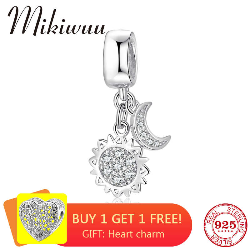 Sun and moon shape 925 Sterling Silver DIY clear CZ fine Pendants beads Jewelry making Fit Original Pandora Charm Bracelet