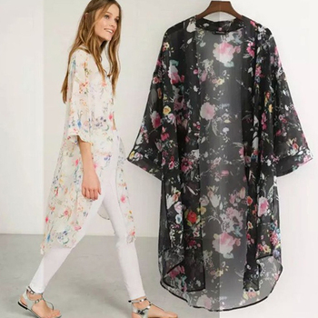 Women Casual Vintage Kimono Cardigan Ladies 2020 Summer Long Crochet Chiffon Kimono Preto Loose Flora Printed Blouse Tops Black