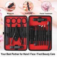7/18pcs Manicure Set Nail Kit Nail Art Tools All For Manicure Sets Pedicure Care With Pusher Ingrown Nail File Polish Tweezer