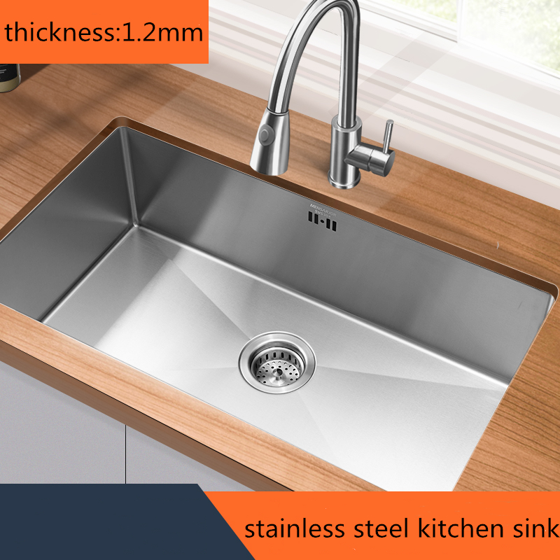 Handmade Brushed 304 Stainless Steel Single Bowl Washbasin Drawing Drainer Welding Sinks Big Wash Dishes Kitchen Sink Undermount