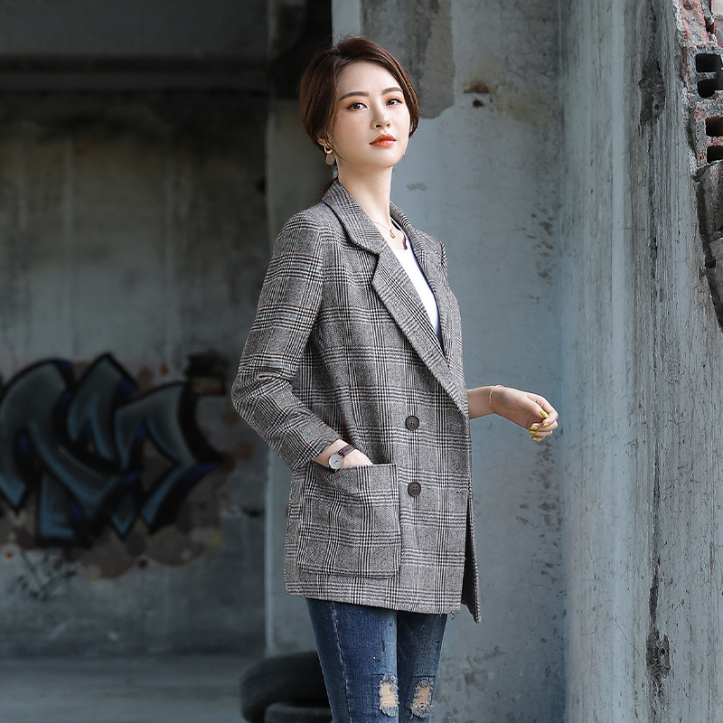 High quality loose women's jacket New temperament ladies plaid blazer Office career autumn and winter women's suit large size