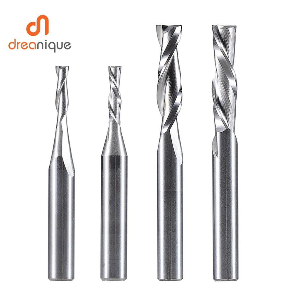Inch Size UP Cut DOWN Cut Two Flutes Carbide Spiral Router Bit 3.175mm 6.35 Mm,CNC Router, Compression Wood End Mill Cutter Bits