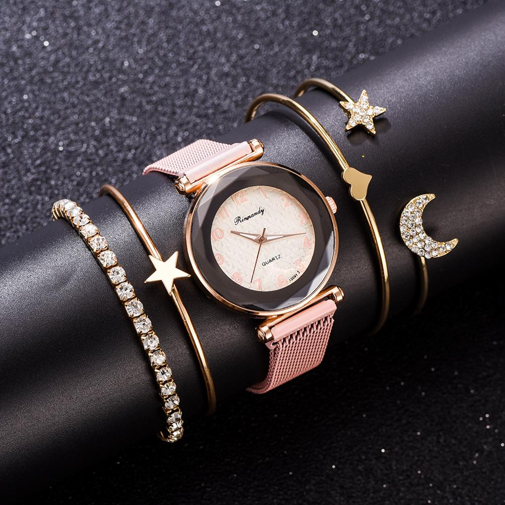 5PCS Luxury Bracelet Watch Set Dazzling Star Jewelry Bangle Quartz Clock Magnetic Women's Crystal Wristwatch Gift