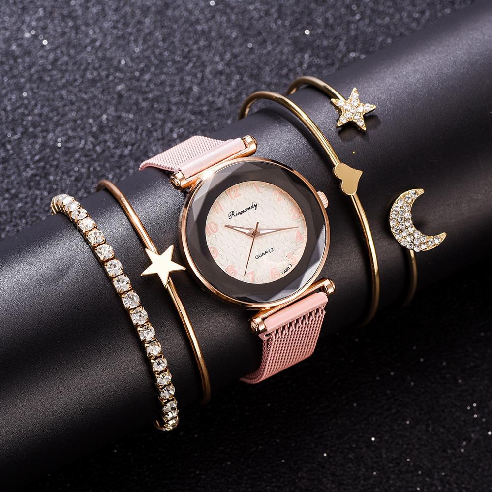 5PCS Luxury Bracelet Watch Set Dazzling Star Jewelry Bangle Quartz Clock Magnetic Women's Crystal Wristwatch Gift