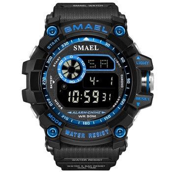 SMAEL Fashion Sport Watch for Men Alarm Clock 50M Waterproof Week Display Men's Watches Male Black Blue Military Digital Watch
