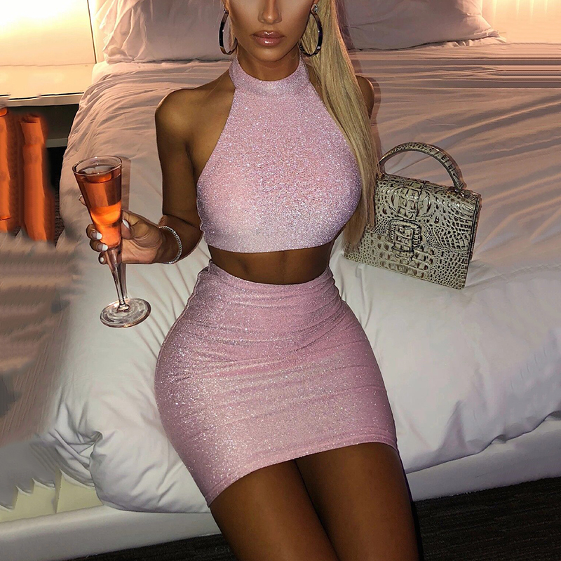 OMSJ 2020 New Trendy Sexy Hot Summer Shiny Clubwear Two Piece Set Women Fashion Backless Sleeveless Crop Top+Skirt 2 Pcs Outfits