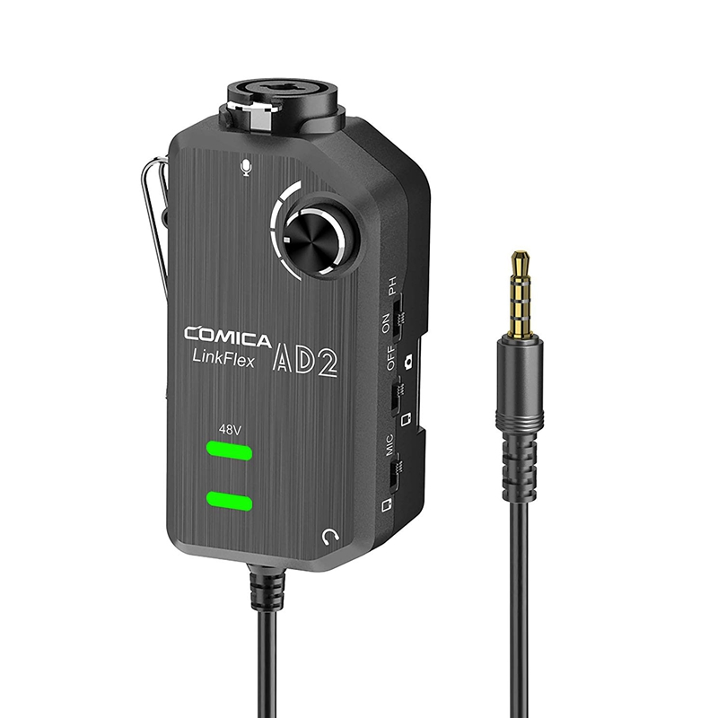Hot 3C-Comica LINKFLEX.AD2 XLR/ 6.35mm , With 48V Phantom Power, Real Time Monitor, XLR/Guitar Interface Adaptor For IPhone, IPa
