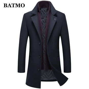 BATMO 2019 new arrival winter wool thicked trench coat men,men's casual wool jackets,9878