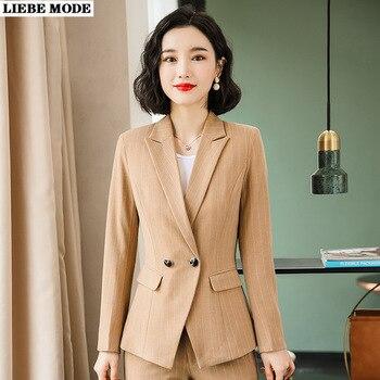 Double Breasted Jacket Blazer Pants Vintage Two 2 Piece Set Business Formal Khaki Black Striped Pant Suit for Women Ol Pantsuit