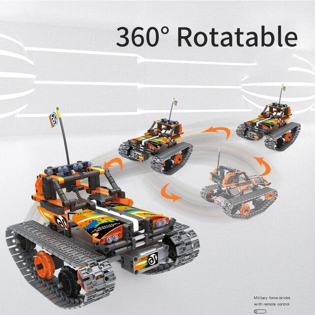 Technic Building Blocks DIY RC Car Remote Control Robot Racer Stunt Car 353pcs Building Blocks Bricks Toys For children Gifts 5