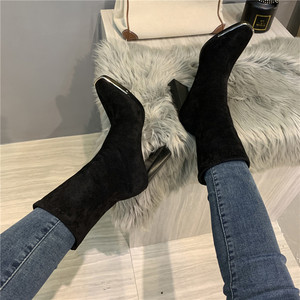 Image 4 - Celebrity Shoes Woman Boots Square Head High Heels Metal Sequins Black Leather Elastic Ankle Boots 2019 Winter Fashion Footwear