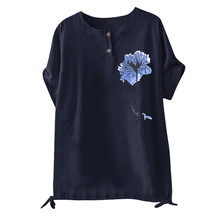 Women Linen Blouse 2019 Summer Autumn Plus Size Tops  Short Sleeve Print Top 8.19