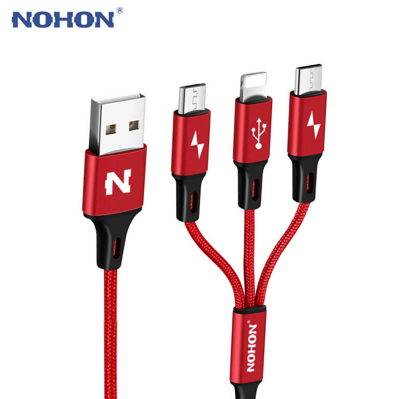 NOHON Micro Type C USB Cable Type C 8pin 3 2 in 1 For iPhone 7 6 6S Plus iOS 10 9 8 Android Xiaomi LG Cable Fast Charger Cables cable type-c usb cable type-c nohon micro usb - AliExpress