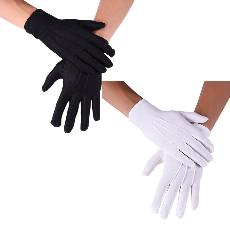 Men Spandex Thin Black White Parade Gloves Formal Tuxedo Costume Honor Guard Mittens for Coin Jewelry Silver Inspection