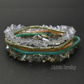 Shine Jewelry Crystal Glass Triangle Beads Elastic Thread Multi-layers Fashion Women Bracelets Birthday Gift 24sets/lot